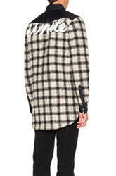 Off White Quilted Flannel Button Down In Black Checkered And Plaid Black White Checkered And Plaid
