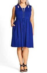 City Chic Plus Size Women's Lace Up Fit And Flare Dress Cobalt