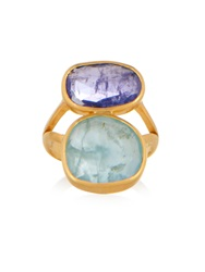 Pippa Small Amethyst Aquamarine And Yellow Gold Ring