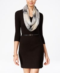 Amy Byer Bcx Juniors' Belted Sweater Dress With Scarf Black Cream