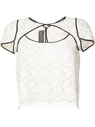 Monique Lhuillier Cutout Lace Blouse Women Silk 2 White