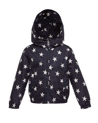 Moncler Houri Hooded Star Print Rain Jacket Navy Size 4 6 Size 6