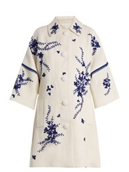 Andrew Gn Floral Embroidered Linen Coat Blue White