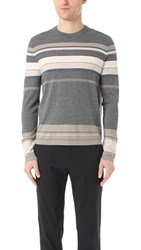 Theory Sandes New Sovereign Merino Crew Sweater Grey Heather Multi