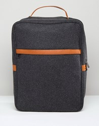Asos Smart Backpack In Charcoal Melton Charcoal Grey