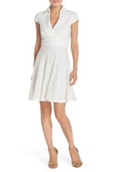 Betsey Johnson Lace Fit And Flare Shirt Dress White