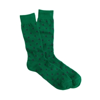 J.Crew Medium Dot Cotton Socks Green Navy Dot