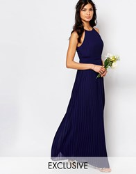 Tfnc Wedding High Neck Pleated Maxi Dress Navy
