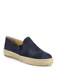 Stuart Weitzman Nugal Leather Espadrille Skate Sneakers Navy
