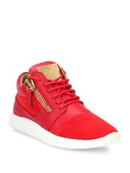 Giuseppe Zanotti Leather And Suede Side Zip Sneakers Red