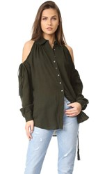 Haute Hippie Button Down Tunic With Drawstrings Deep Military