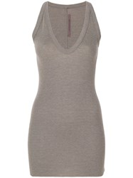 Rick Owens Lilies V Neck Elongated Knitted Tank Viscose Angora Wool Polyimide Brown