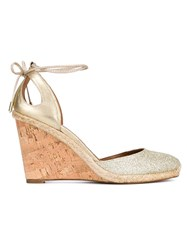 Aquazzura Palm Beach Glitter Espadrille Wedge Sandals Metallic