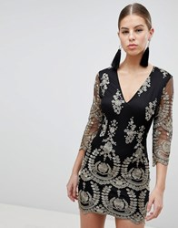 Girl In Mind 3 4 Sleeve Embroidered Dress Black