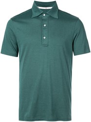 Isaia Pointed Collar Polo Shirt Green