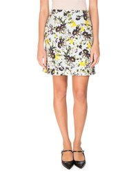 Erdem Adele Floral Print Mini Skirt Yellow Blue Yellow Blue
