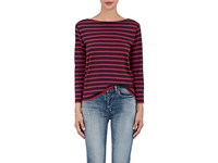 Saint Laurent Women's Breton Striped Cotton Jersey T Shirt Navy Red No Color