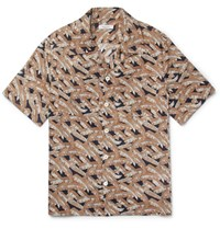 Valentino Camp Collar Printed Cotton Shirt Brown