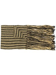Saint Laurent Striped Knit Fringed Scarf Metallic