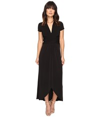 Michael Michael Kors Cap Sleeve Maxi Wrap Dress Black Women's Dress
