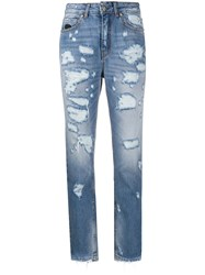John Richmond High Rise Tapered Jeans Blue