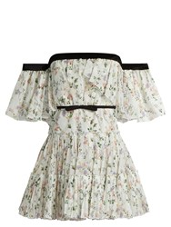 Giambattista Valli Off The Shoulder Floral Print Georgette Dress White Print
