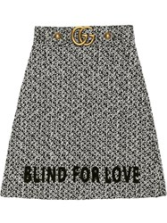 Gucci Embroidered Tweed Skirt Black