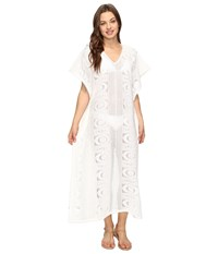 Seafolly Floral Lace Maxi Kaftan Cover Up Milk Women's Swimwear White