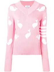 Thom Browne 4 Bar Whale Icon Intarsia Pullover Pink