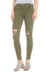 7 For All Mankindr Women's Mankind Ripped Ankle Skinny Jeans Olive