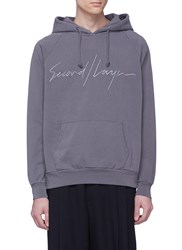 Second Layer Logo Embroidered Hoodie Grey