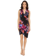 Nicole Miller Stefanie Botanic Printed Dress Black Multi Women's Dress