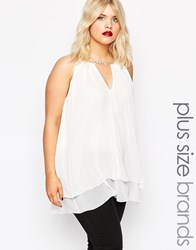 Ax Paris Plus Sleeveless Top With Chainmail Neckline Cream