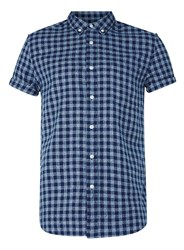 Topman Navy And Grey Check Gingham Short Sleeve Casual Shirt Blue