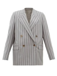 Acne Studios Janny Double Breasted Pinstriped Wool Jacket Grey