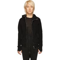 Boris Bidjan Saberi Black Vinyl Coated Zip Hoodie
