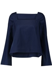 Rebecca Minkoff Frannie Cotton Poplin Top Midnight Blue