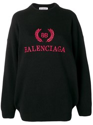 Balenciaga Logo Embroidered Jumper Black