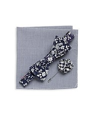Original Penguin Three Piece Floral Printed Bow Tie Cotton Blend Pocket Square And Lapel Pin Set Navy