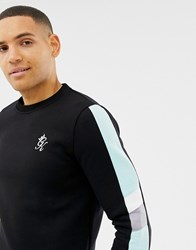 Gym King Muscle Crew Neck Sweat With Side Stripes In Black