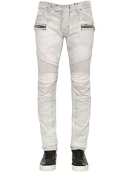 Balmain 17Cm Biker Washed Stretch Denim Jeans