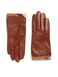 Burberry Housecheck Trim Leather Gloves Saddle Brown