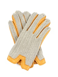 Dents Burghley Crochet Knit And Leather Gloves