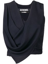 Jacquemus Cropped Draped Top Blue