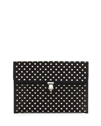 Alexander Mcqueen Studded Leather Skull Envelope Clutch Black