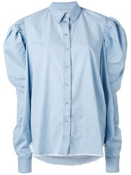 Marques Almeida Marques'almeida Puff Sleeve Chambray Shirt Women Cotton S Blue