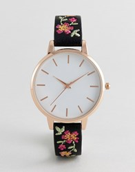New Look Embroidered Strap Watch Black