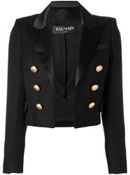 Balmain Open Front Cropped Blazer Women Silk Cotton Polyester Viscose 36 Black