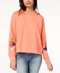 Almost Famous Juniors' Floral Embroidered Hoodie Coral