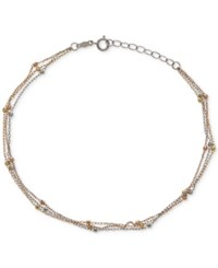 Macy's Tri Tone Beaded Anklet In 14K White Yellow And Rose Gold Tri Tone